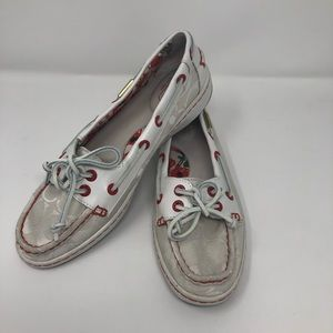 Coach, 8, White & Red Topsiders
